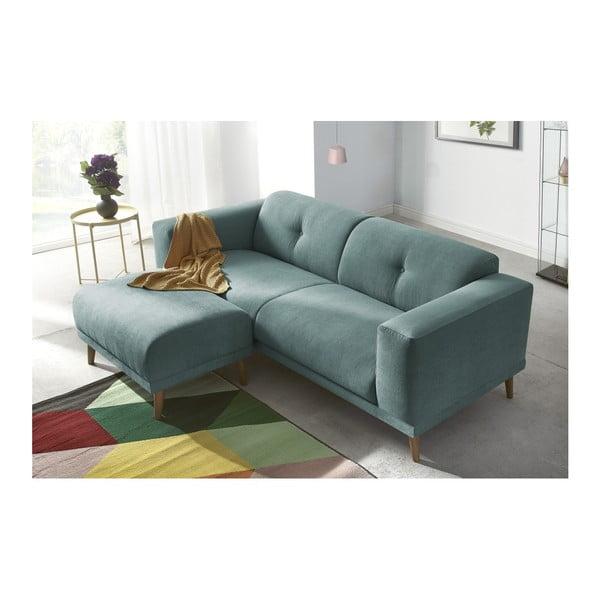 Canapea cu 3 locuri și suport pentru picioare Bobochic Paris Luna, albastru
