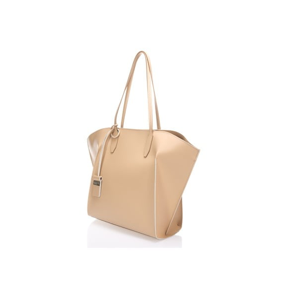 Béžová kožená kabelka Giulia Massari Akira