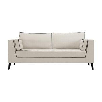 Canapea cu 3 locuri cu detalii negre Stella Cadente Maison Atalaia Cream crem deschis