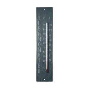 Nástěnný břidlicový venkovní teploměr s nápisem EsschertDesign, 45x10cm
