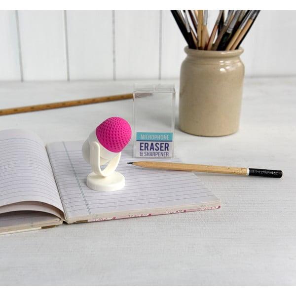 Růžovobílá guma na gumování s ořezávátkem Rex London Microphone, ⌀4cm