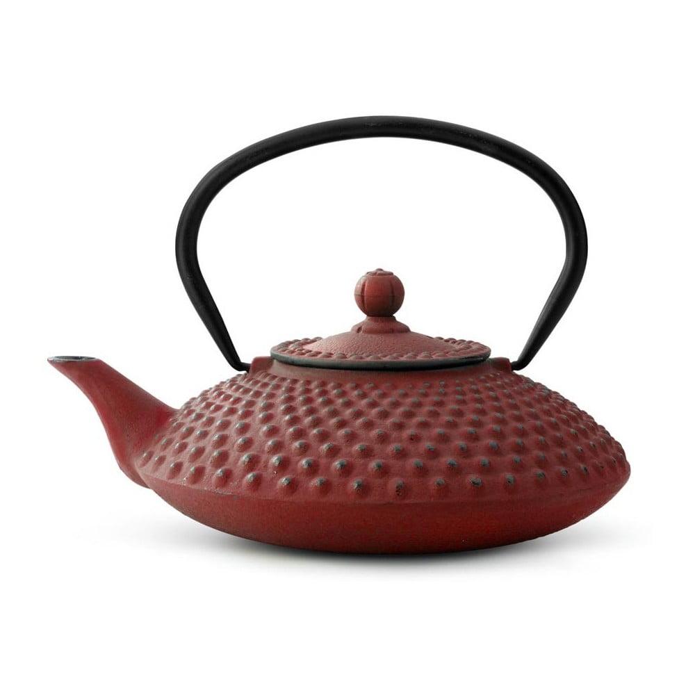 Červená litinová konvice se sítkem na sypaný čaj Bredemeijer Xilin, 1,25 l
