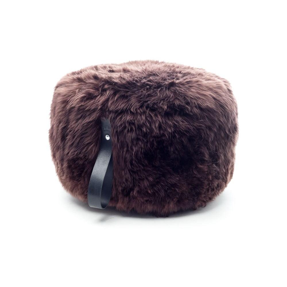Tmavě hnědý puf z ovčí kožešiny s černým detailem Royal Dream,⌀ 60cm