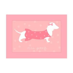 Růžový dětský koberec Pooch Mrs Pooch, 50x97cm