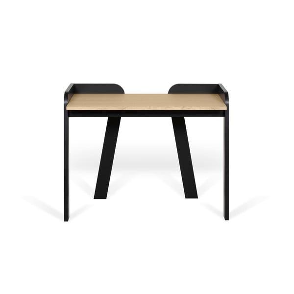 Fekete íróasztal tölgyfa díszítéssel - TemaHome