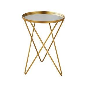 Odkládací stolek ve zlaté barvě se skleněnou deskou Native Round, ⌀ 38 cm