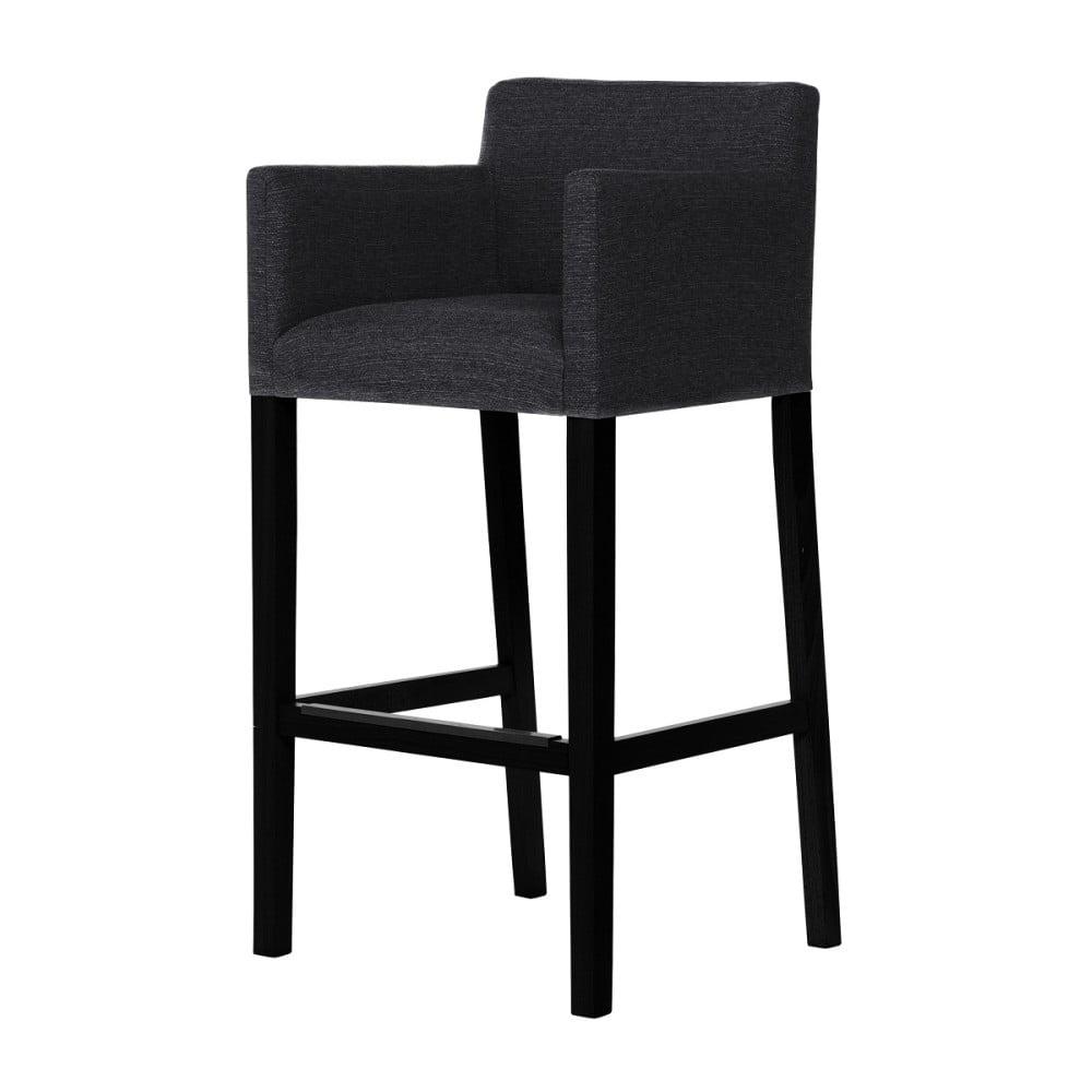 Černá barová židle s černými nohami Ted Lapidus Maison Sillage