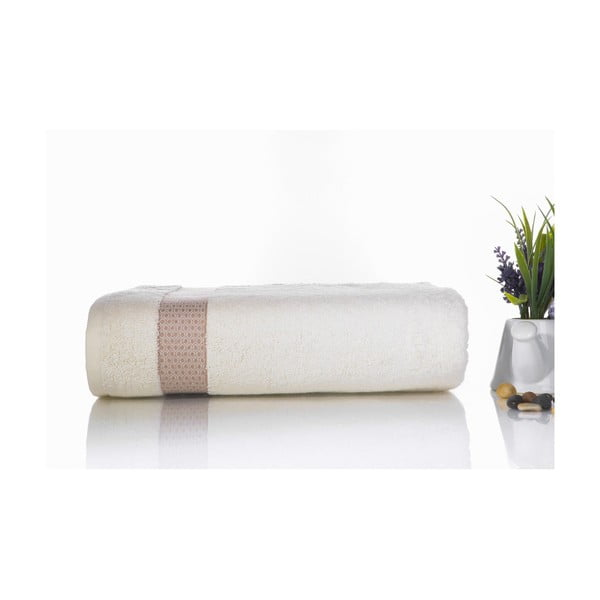 Hnědo-bílá bavlněná osuška Ladik Alice,70x140cm