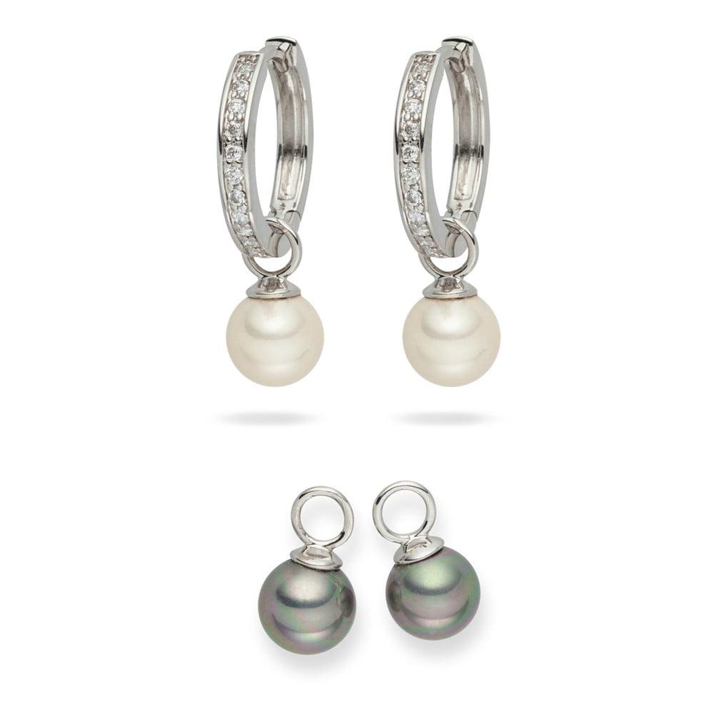 Sada 2 bílých a šedivých perlových náušnic se zirkony Pearls of London Sia
