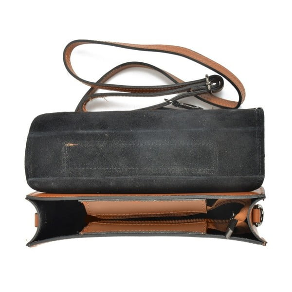Koňakově hnědá kožená kabelka Carla Ferreri Ferrum Pesco