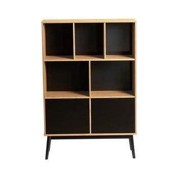 Bibliotecă cu uși negre din lemn de pin Marckeric Estela, înălțime 141,5 cm, maro