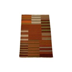 Ručně tkaný koberec Orange Beige Stripes, 140x200 cm