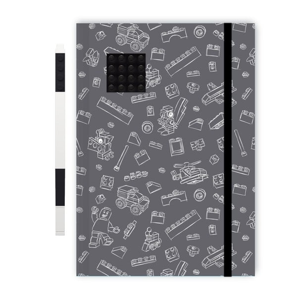 Černobílý zápisník A5 s černým perem LEGO®, 96stran