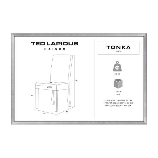 Pudrově růžová židle s tmavě hnědými nohami z bukového dřeva Ted Lapidus Maison Tonka