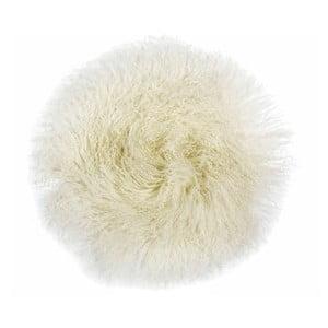 Pernă din blană pentru scaun Tibetan, 35 x 35 cm, alb