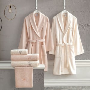 Set 2 bavlněných županů a 4 ručníků z edice Marie Claire Aida
