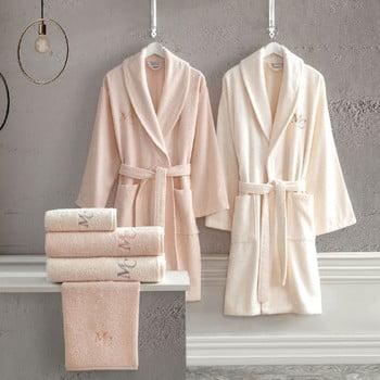 Set halate de baie femeie și bărbat, 2 prosoape mâini și 2 prosoape duș Family Bath, roz deschis - crem
