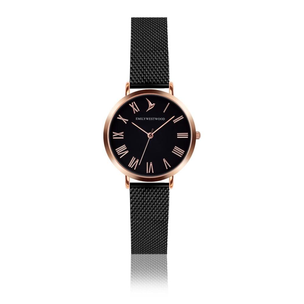 Dámské hodinky s černým páskem z nerezové oceli Emily Westwood Go