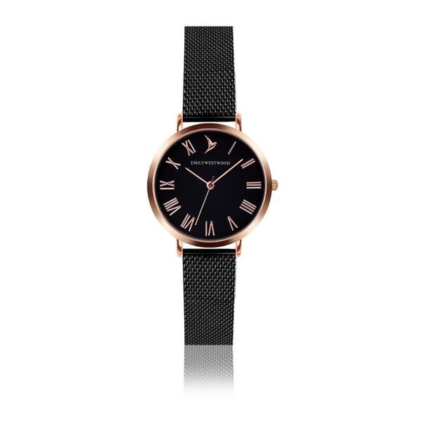 Zegarek damski z czarną bransoletką ze stali nierdzewnej Emily Westwood Go
