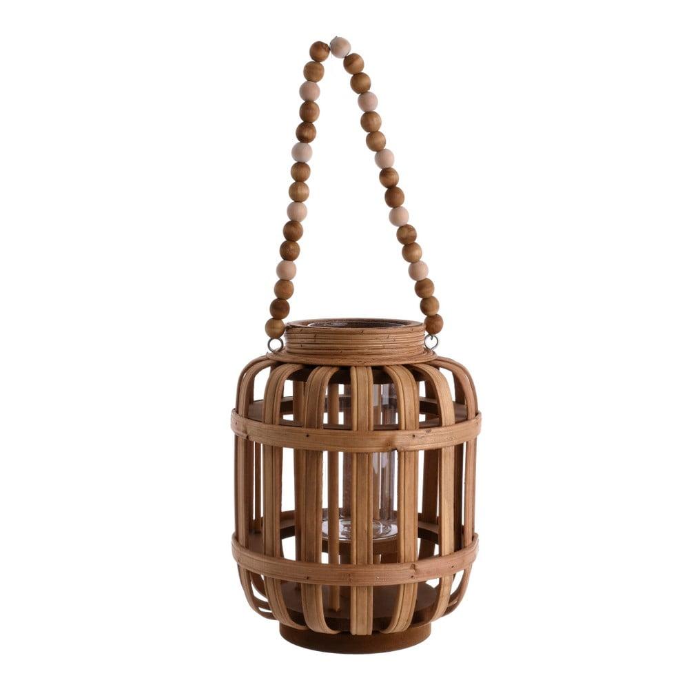 Hnědá dřevěná lucerna InArt Solla, ⌀ 18 cm