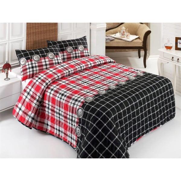 Sada prošívaného přehozu přes postel a dvou polštářů Double 217, 200x220 cm