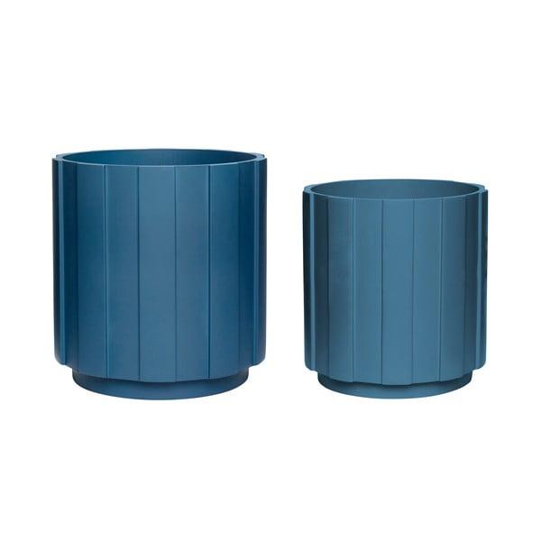 Sada 2 tmavě modrých květináčů Hübsch Palerro