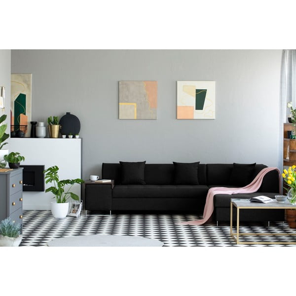 Černá rohová rozkládací pohovka s nohami ve stříbrné barvě Cosmopolitan Design Orlando, pravý roh