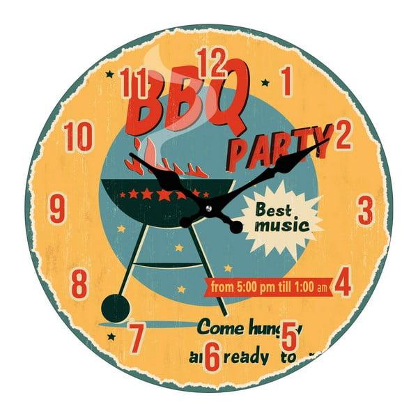 Skleněné hodiny BBQ Party, 34 cm