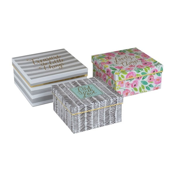 Sada 3 úložných krabic Treasures