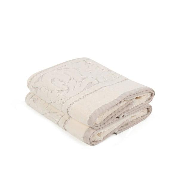 Zestaw 2 beżowych ręczników z bawełny Sultan, 50x90 cm