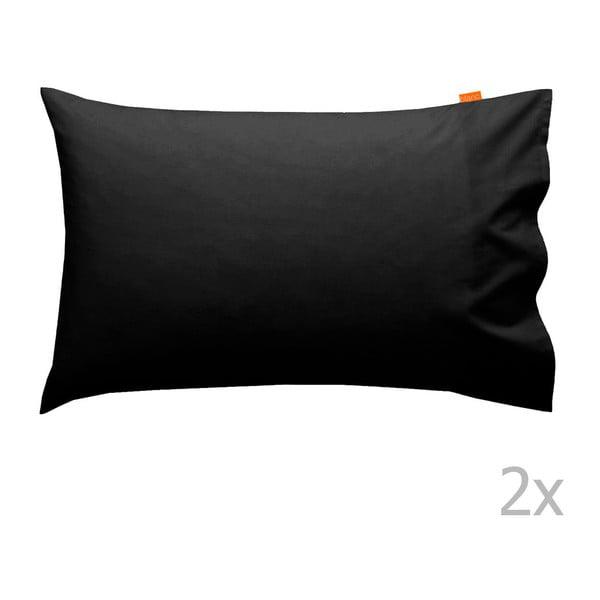 Sada 2 černých povlaků na polštář Happy Friday Basic, 50x80cm