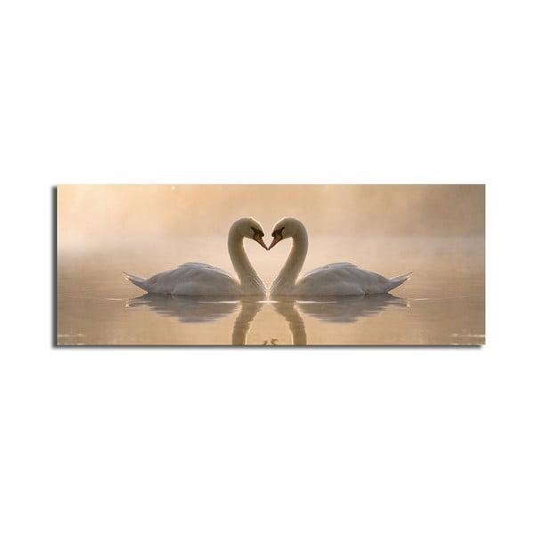 Tablou pe pânză Swan Love, 90 x 30 cm