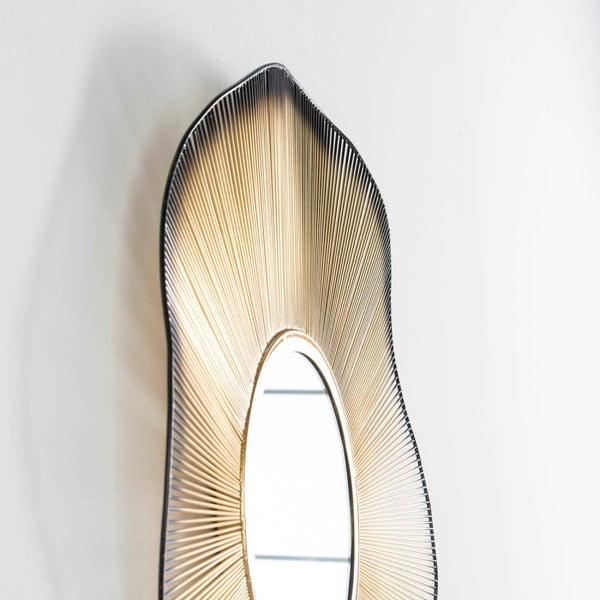 Nástěnné zrcadlo s detaily ve zlaté barvě Thai Natura, ⌀75cm
