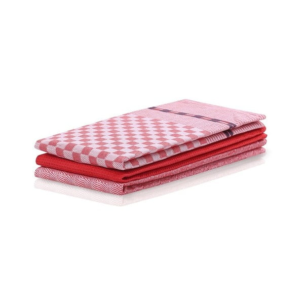 Louie 3 darabos piros pamut konyharuha szett - DecoKing