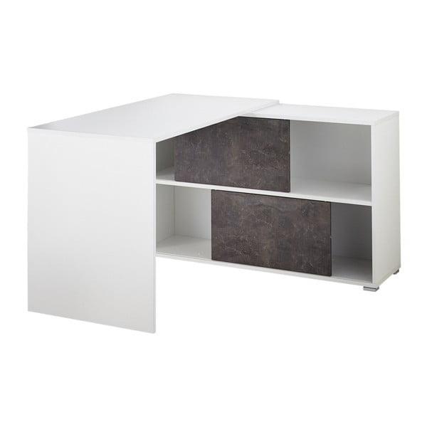 Bílý pracovní stůl s odkládacím stolkem Germania Altino
