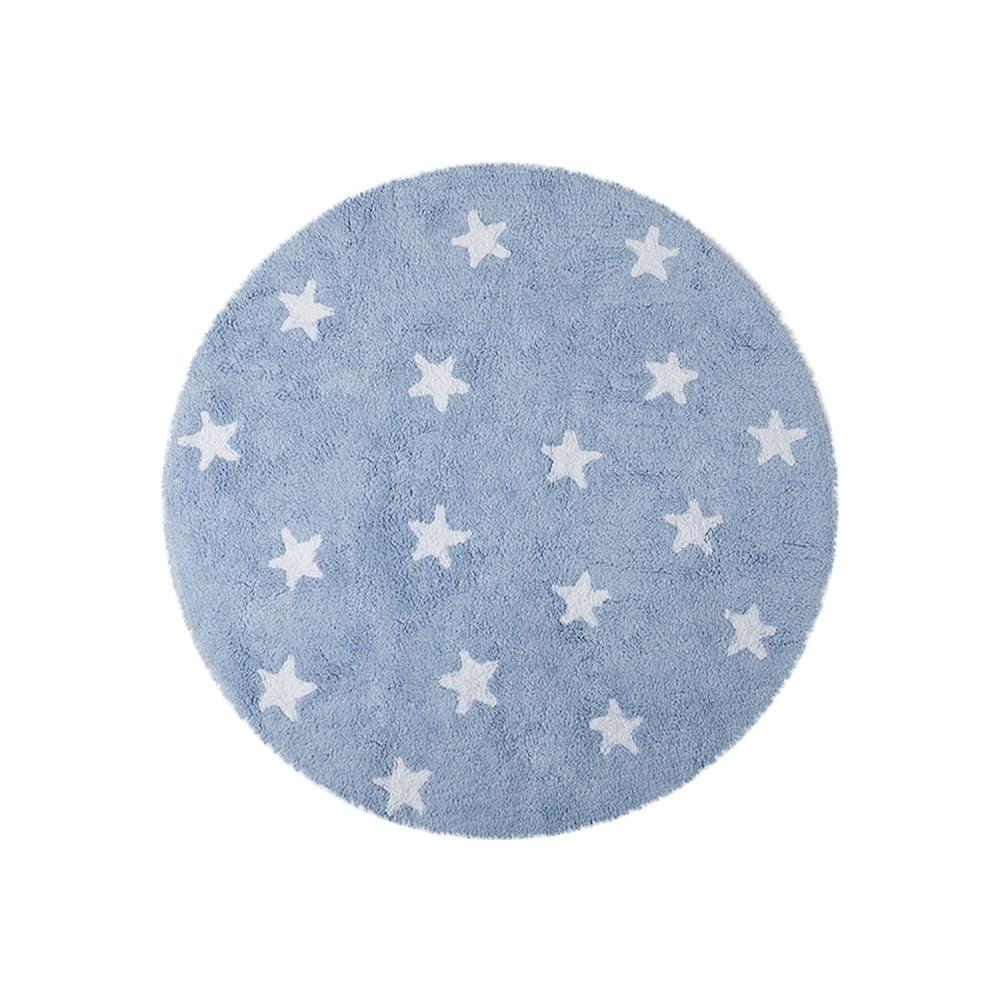 Modrý bavlněný ručně vyráběný koberec Lorena Canals Sky, průměr 140 cm