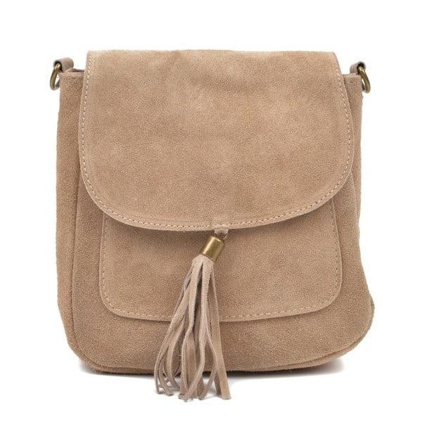 Sivobéžová kožená kabelka Anna Luchini Kaello