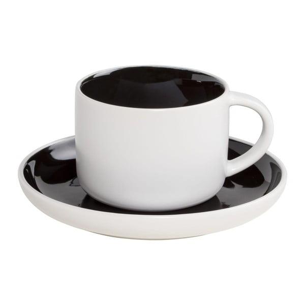 Bílý porcelánový šálek s podšálkem s černým vnitřkem Maxwell&Williams Tint, 240ml