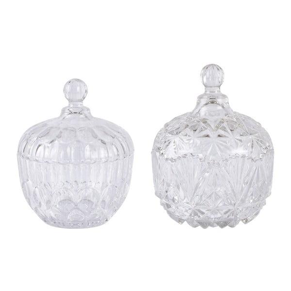 Sada 2 skleněných dóz KJ Collection Clear Glass