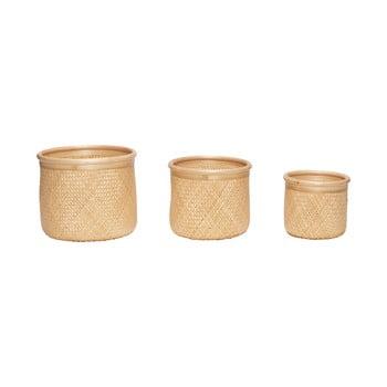 Set 3 coșuri depozitare din bambus Hübsch Smileo imagine
