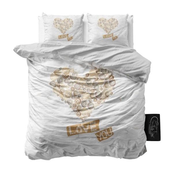 Povlečení z mikroperkálu na dvoulůžko Sleeptime Wood Love You,200x220cm