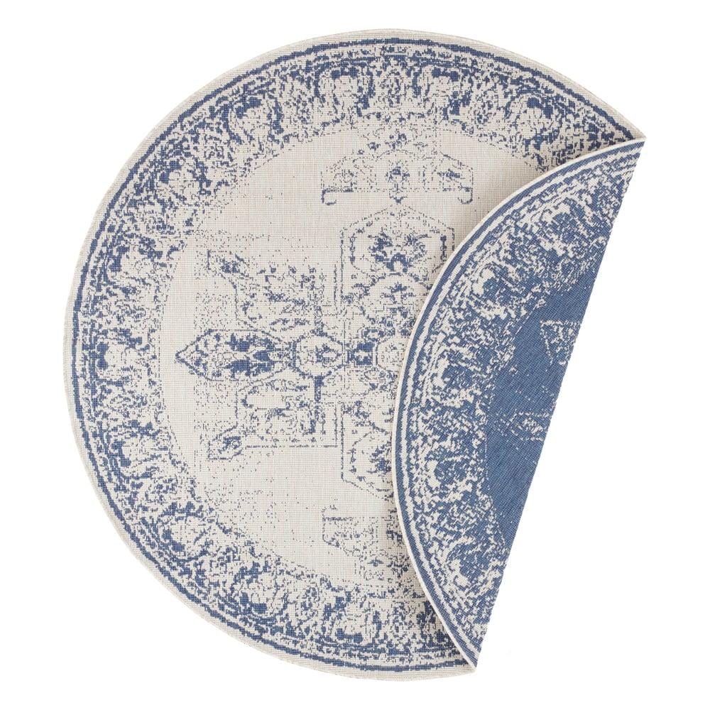 Modro-krémový venkovní koberec Bougari Borbon, ø 200 cm