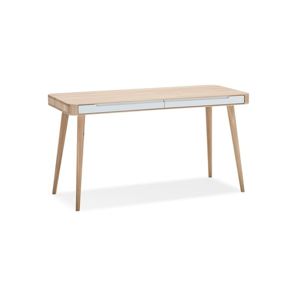 Pracovný stôl z dubového dreva Gazzda Ena, 140×60×75 cm