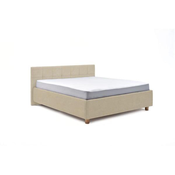 Leda bézs kétszemélyes ágy ágyráccsal és tárolóhellyel, 180 x 200 cm - AzAlvásért
