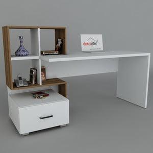 Pracovní stůl Bloom White/Walnut, 60x120x73,8 cm