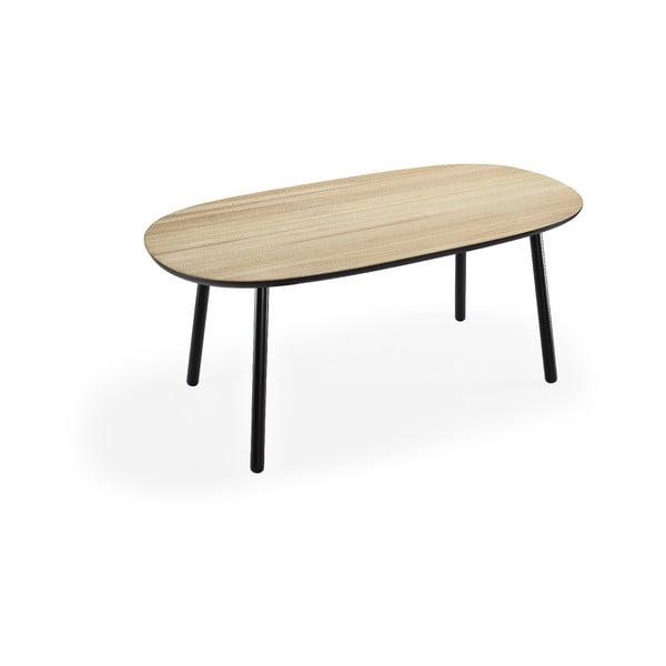 Naïve kőrisfa étkezőasztal fekete lábakkal, 180 x 90 cm - EMKO