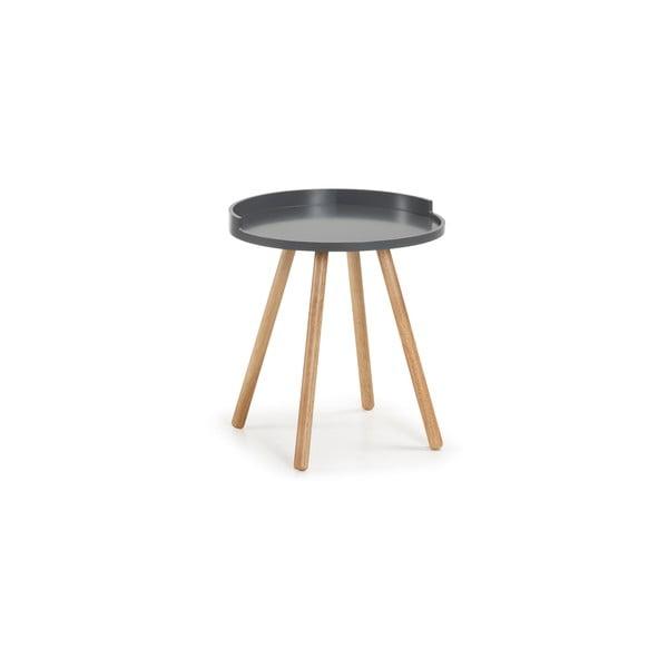 Bruk sötétszürke tárolóasztal fa lábakkal - La Forma