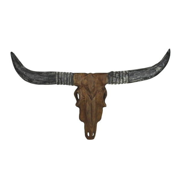 Decorațiune din lemn de tec HSM collection Buffalo Head, 50 cm