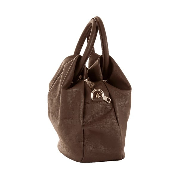 Tmavě hnědá kožená kabelka Andrea Cardone 1029