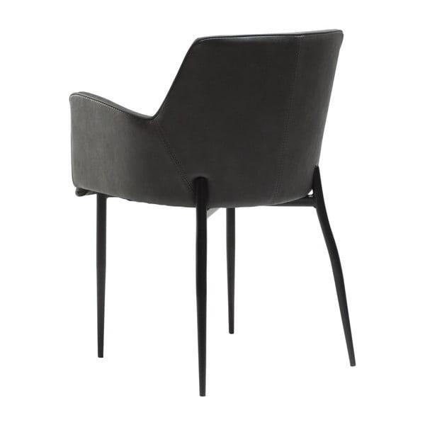 Šedá jídelní židle z eko kůže s područkami DAN–FORM Denmark Rombo Faux